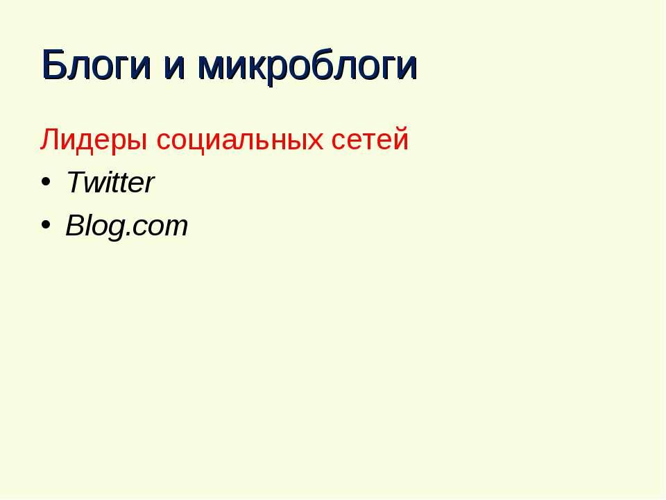 Блоги и микроблоги Лидеры социальных сетей Twitter Blog.com