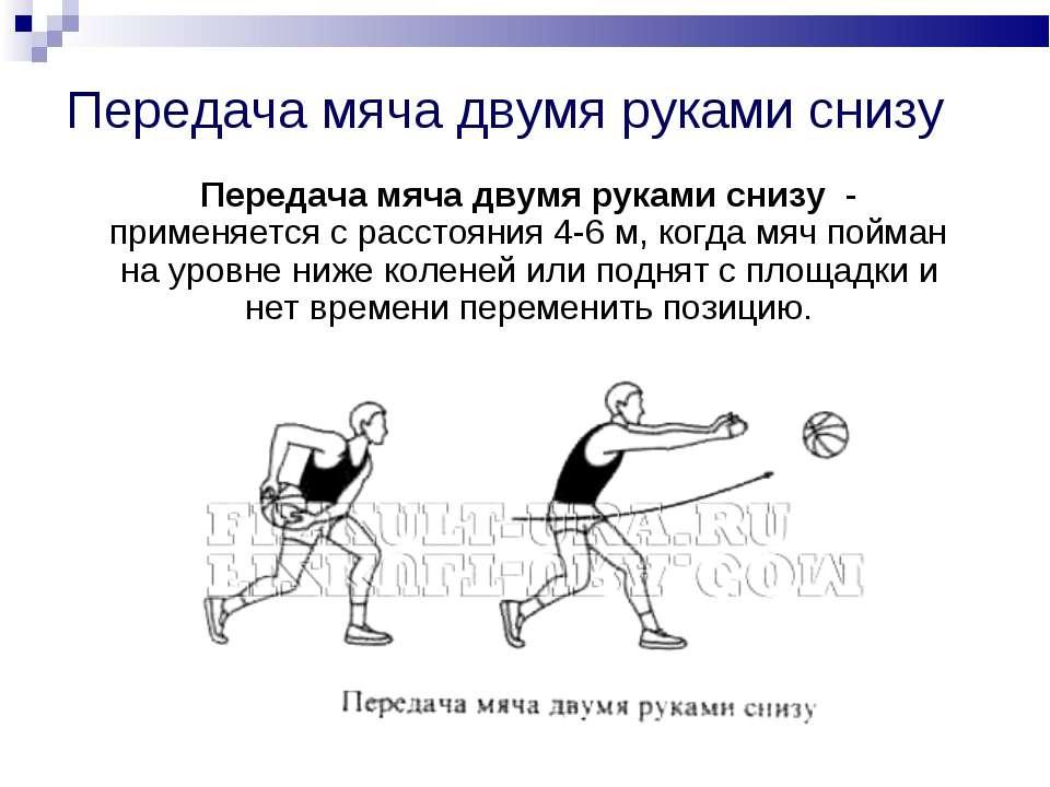 Передача мяча двумя руками снизу Передача мяча двумя руками снизу - применяет...