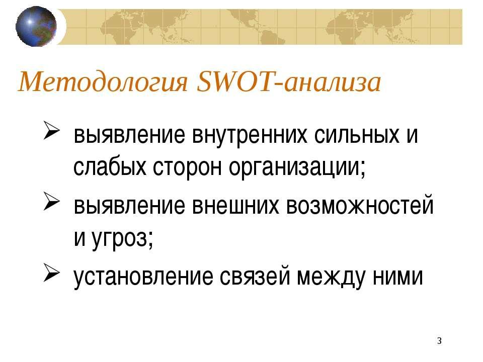 * Методология SWOT-анализа выявление внутренних сильных и слабых сторон орган...