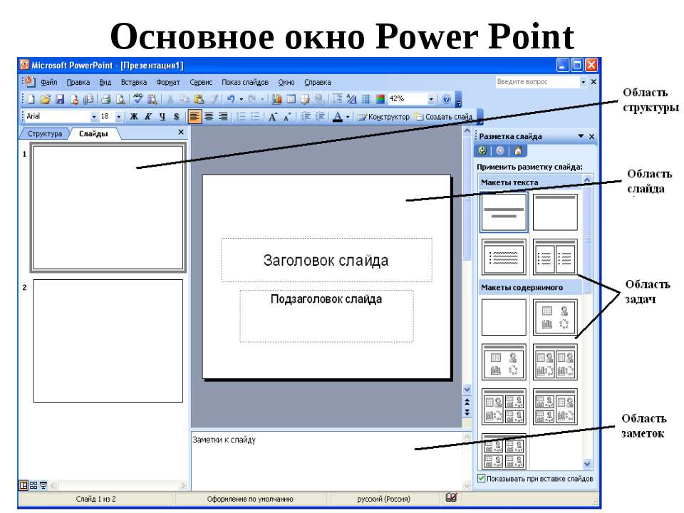 Основное окно Power Point