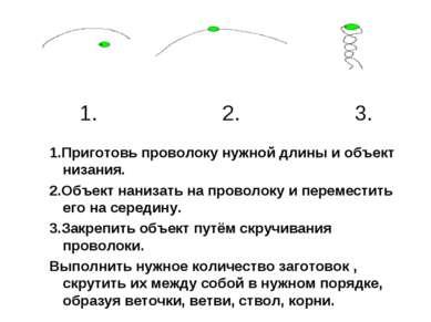 1.Приготовь проволоку нужной длины и объект низания. 2.Объект нанизать на про...