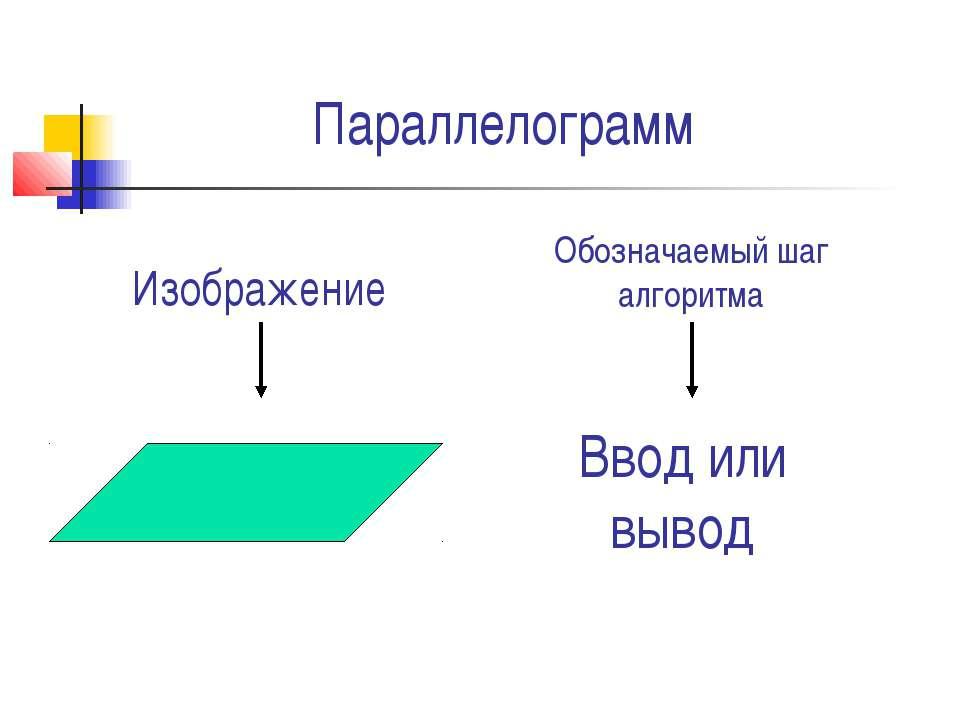 Параллелограмм Ввод или вывод Изображение Обозначаемый шаг алгоритма