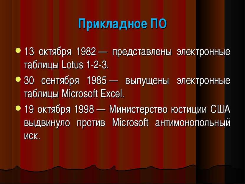 Прикладное ПО 13 октября 1982— представлены электронные таблицы Lotus 1-2-3....