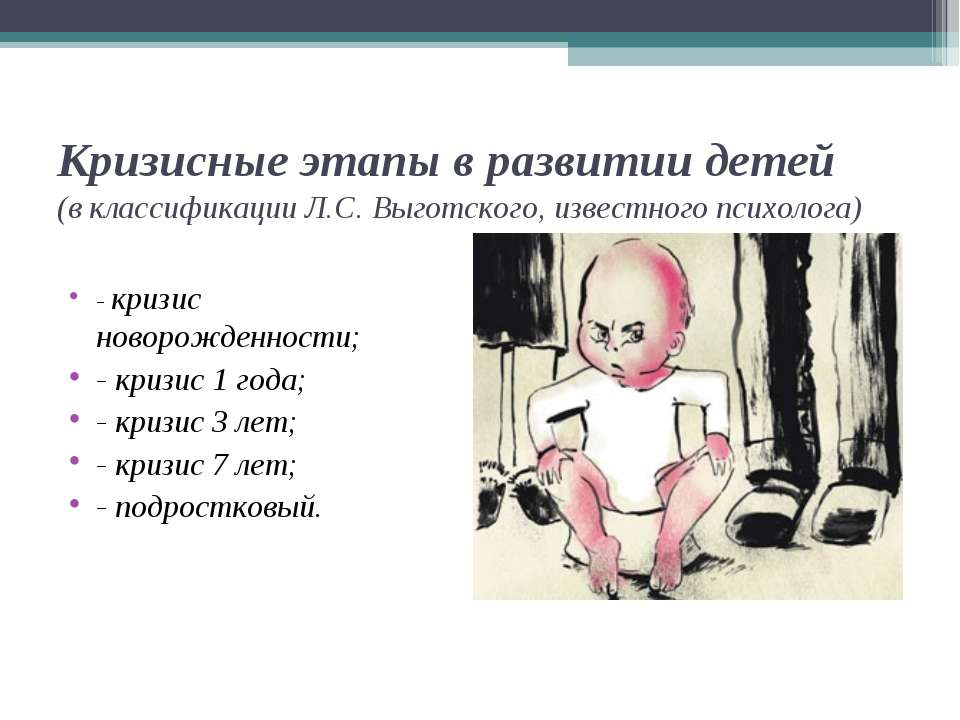 Кризисные этапы в развитии детей (в классификации Л.С. Выготского, известного...
