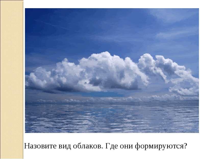 Назовите вид облаков. Где они формируются?