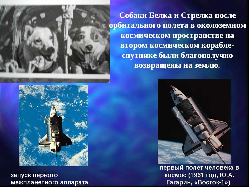 запуск первого межпланетного аппарата (1959 год, «Луна-1») первый полет челов...