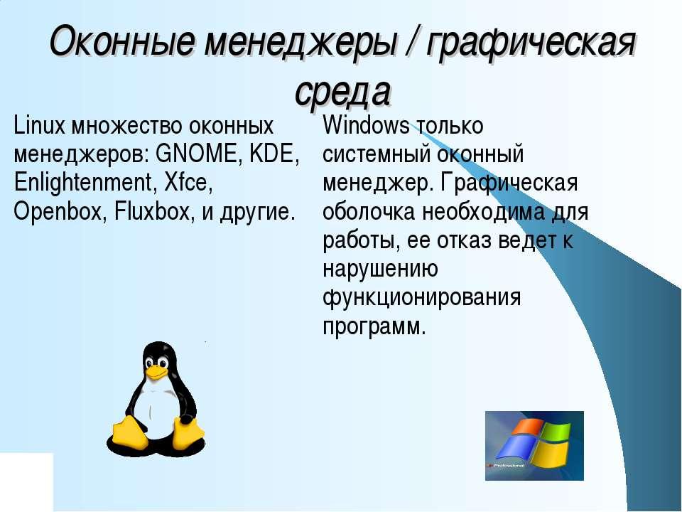 Оконные менеджеры / графическая среда Windows только системный оконный менедж...