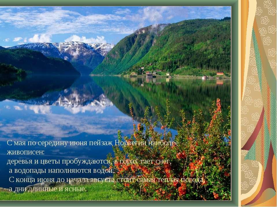 С мая по середину июня пейзаж Норвегии наиболее живописен: деревья и цветы пр...