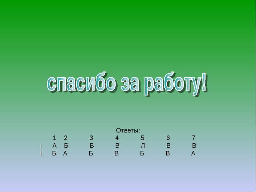 Ответы: 1 2 3 4 5 6 7 I А Б В В Л В В II Б А Б В Б В А