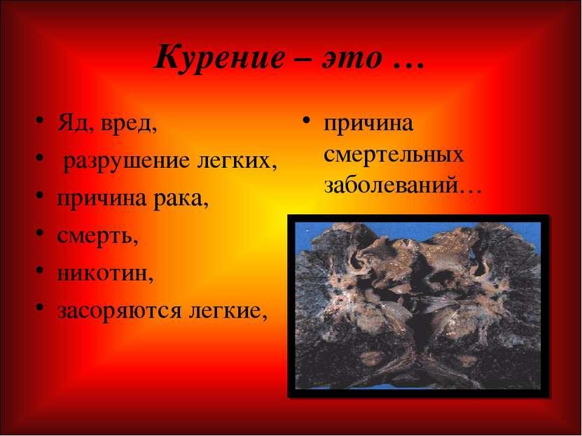 Курение – это … Яд, вред, разрушение легких, причина рака, смерть, никотин, з...
