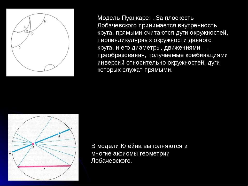В модели Клейна выполняются и многие аксиомы геометрии Лобачевского. Модель П...