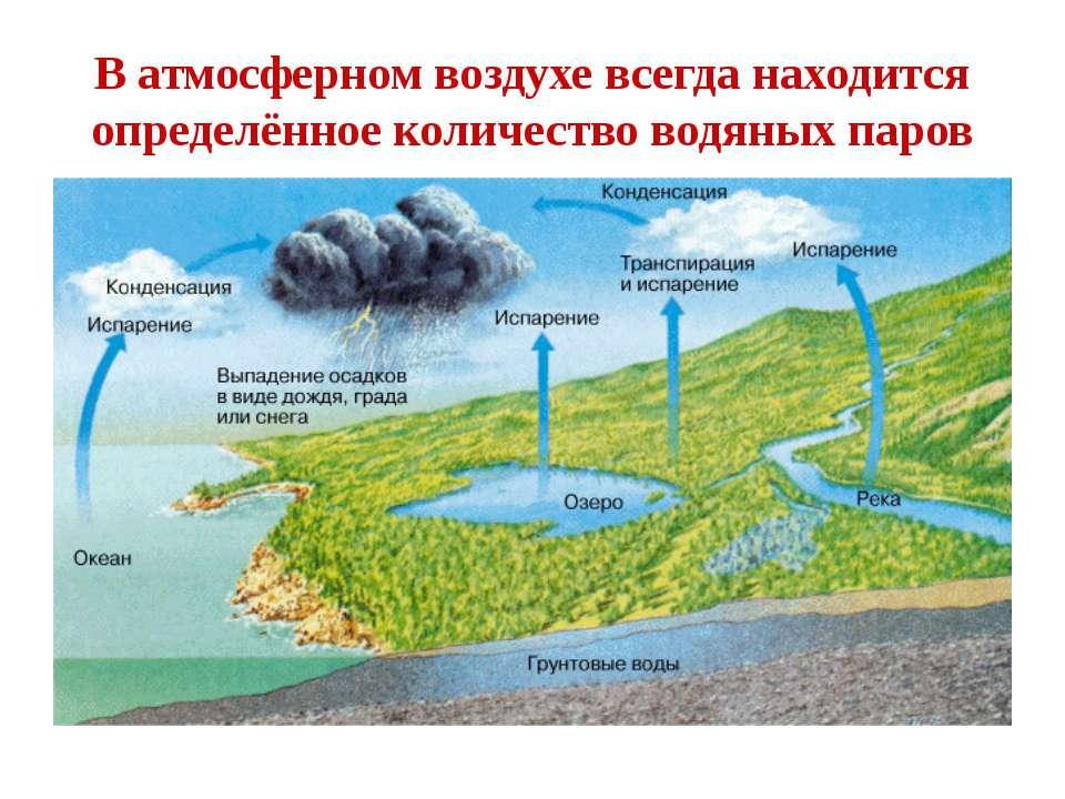 В атмосферном воздухе всегда находится определённое количество водяных паров