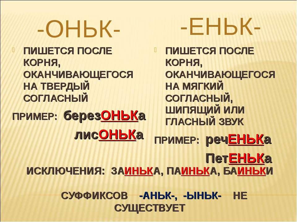 ИСКЛЮЧЕНИЯ: ЗАИНЬКА, ПАИНЬКА, БАИНЬКИ СУФФИКСОВ -АНЬК-, -ЫНЬК- НЕ СУЩЕСТВУЕТ ...