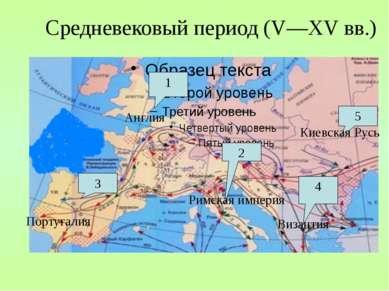 Средневековый период (V—XV вв.) 1 Англия 2 Римская империя 3 Португалия 4 Виз...