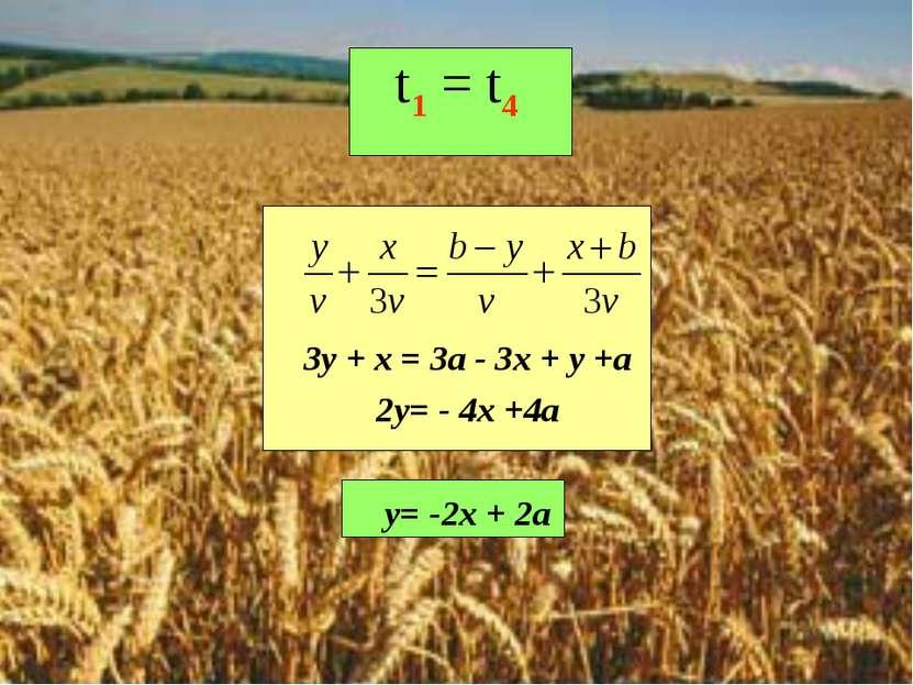 t1 = t4 3y + x = 3a - 3x + y +a 2y= - 4x +4a y= -2x + 2a