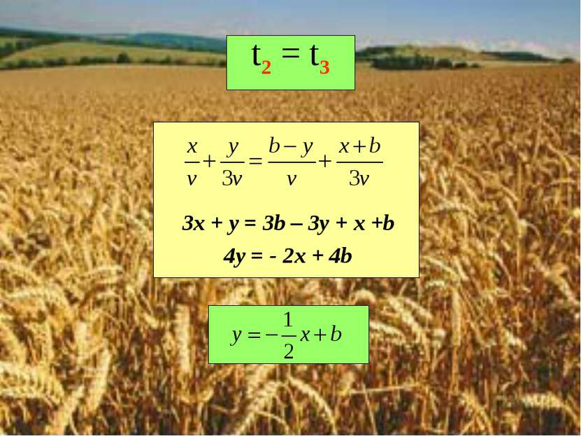 t2 = t3 3x + y = 3b – 3y + x +b 4y = - 2x + 4b