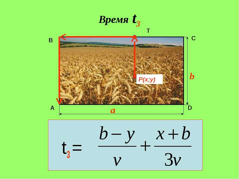 Время t3 t3 = A B C D P(x;y) T b a