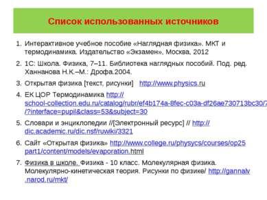 Список использованных источников Интерактивное учебное пособие «Наглядная физ...