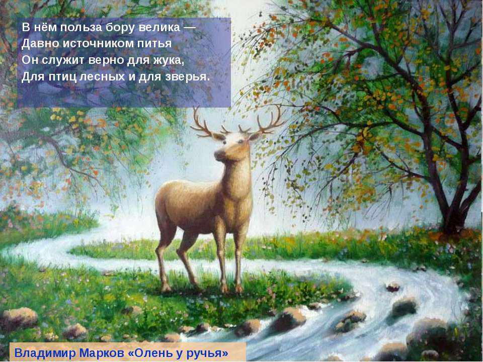В нём польза бору велика — Давно источником питья Он служит верно для жука, Д...
