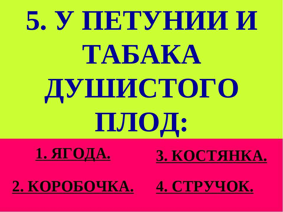 5. У ПЕТУНИИ И ТАБАКА ДУШИСТОГО ПЛОД: 1. ЯГОДА. 2. КОРОБОЧКА. 3. КОСТЯНКА. 4....