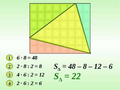 1 6 · 8 = 48 2 2 · 8 : 2 = 8 3 4 · 6 : 2 = 12 4 2 · 6 : 2 = 6 S∆ = 48 – 8 – 1...