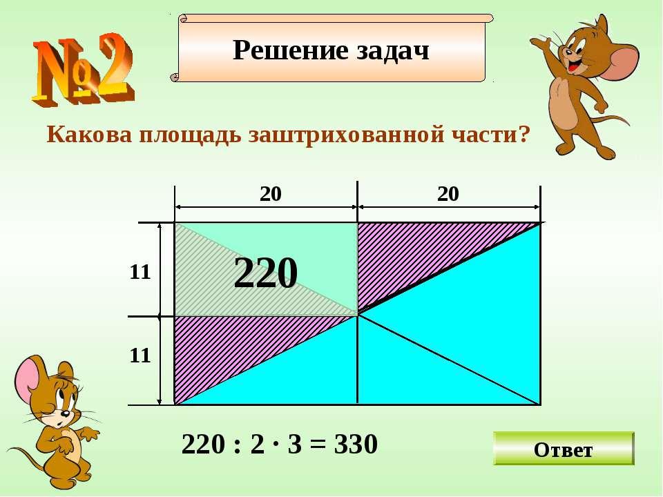 Какова площадь заштрихованной части? Ответ Решение задач 20 11 20 11 220 220 ...
