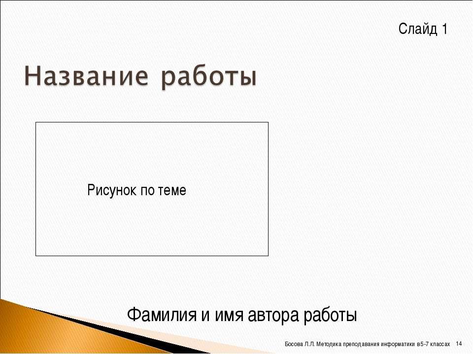 Фамилия и имя автора работы Рисунок по теме Слайд 1 * Босова Л.Л. Методика пр...