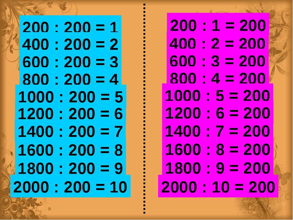 200 : 200 = 1 200 : 1 = 200 400 : 200 = 2 600 : 200 = 3 800 : 200 = 4 1200 : ...