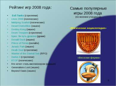 Рейтинг игр 2008 года: Evil Tanks (стрелялки) Lines 2008 (логические) Mahjong...