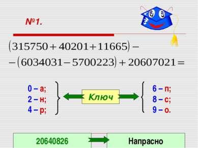№1. 0 – а; 2 – н; 4 – р; 6 – п; 8 – с; 9 – о. Ключ 20640826 Напрасно