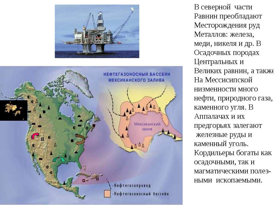 В северной части Равнин преобладают Месторождения руд Металлов: железа, меди,...