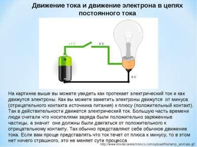Движение тока и движение электрона в цепях постоянного тока http://www.inside...