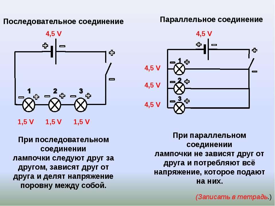 Параллельное соединение (Записать в тетрадь.) Последовательное соединение 4,5...