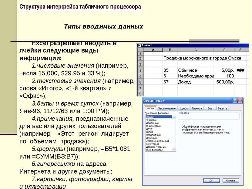Структура интерфейса табличного процессора Excel разрешает вводить в ячейки с...