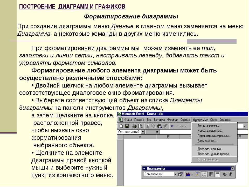ПОСТРОЕНИЕ ДИАГРАММ И ГРАФИКОВ Форматирование диаграммы При создании диаграмм...