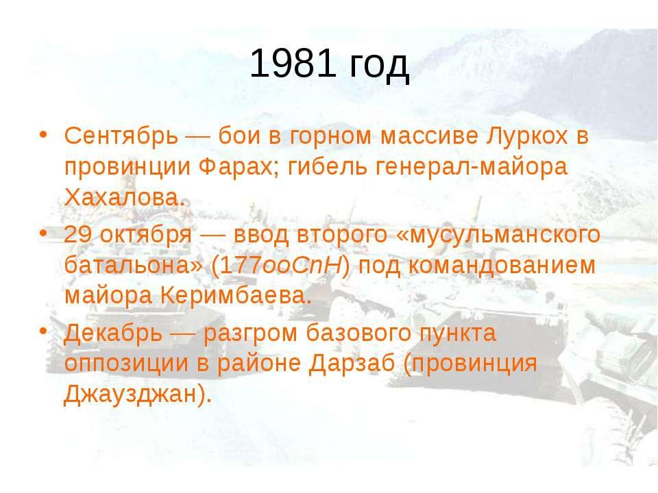 1981 год Сентябрь— бои в горном массиве Луркох в провинции Фарах; гибель ген...