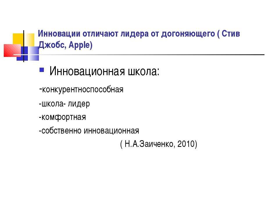 Инновации отличают лидера от догоняющего ( Стив Джобс, Apple) Инновационная ш...
