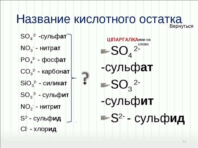 Название кислотного остатка SO4 2- -cульфат SO3 2- -cульфит S2- - сульфид SO4...