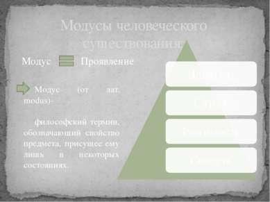 Модусы человеческого существования: Модус (от лат. modus)- философский термин...