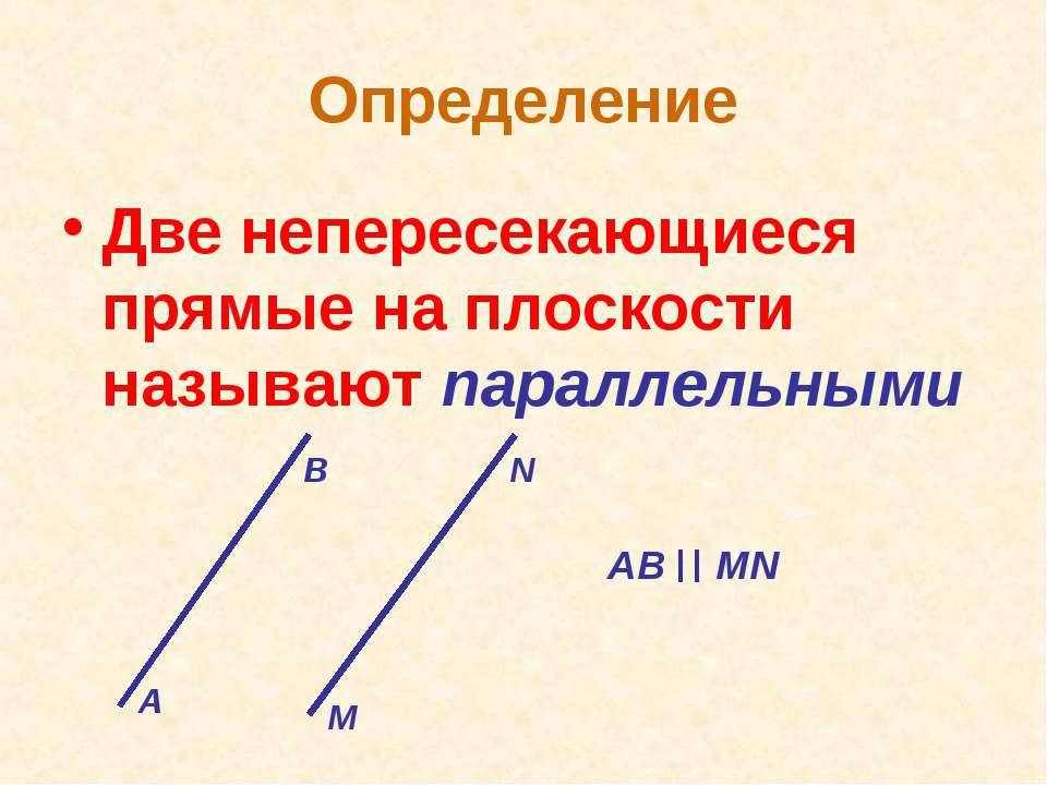Определение Две непересекающиеся прямые на плоскости называют параллельными А...