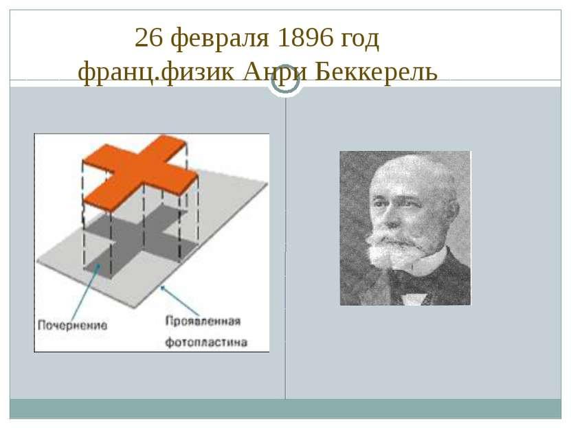 26 февраля 1896 год франц.физик Анри Беккерель