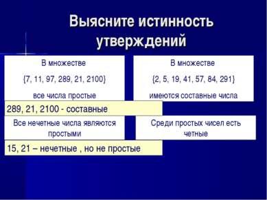 Выясните истинность утверждений В множестве {7, 11, 97, 289, 21, 2100} все чи...