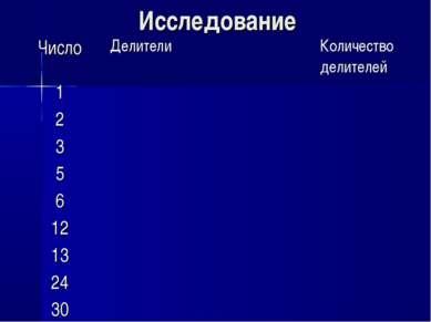 Исследование Число Делители Количество делителей 1 2 3 5 6 12 13 24 30