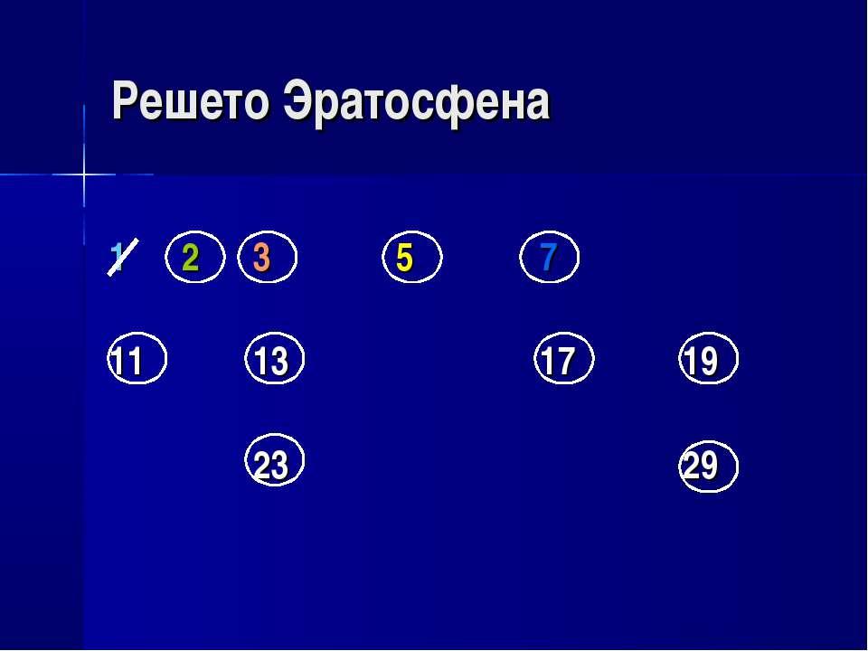 Решето Эратосфена 1 2 3 5 7 11 13 17 19 23 29