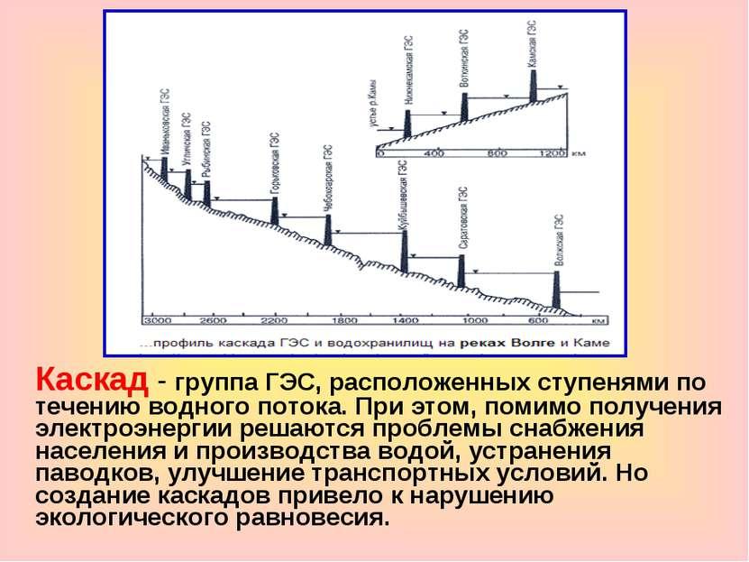 Каскад - группа ГЭС, расположенных ступенями по течению водного потока. При э...