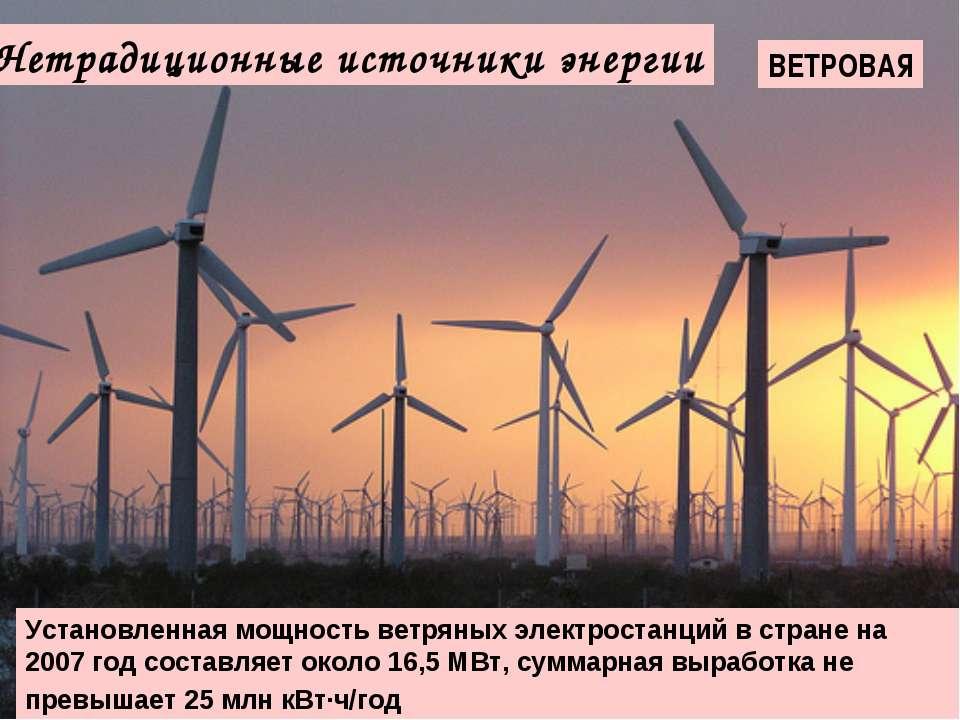 Нетрадиционные источники энергии ВЕТРОВАЯ Установленная мощность ветряных эле...