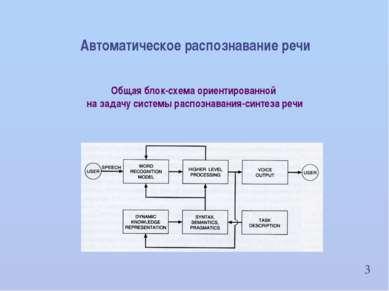 3 Автоматическое распознавание речи Общая блок-схема ориентированной на задач...