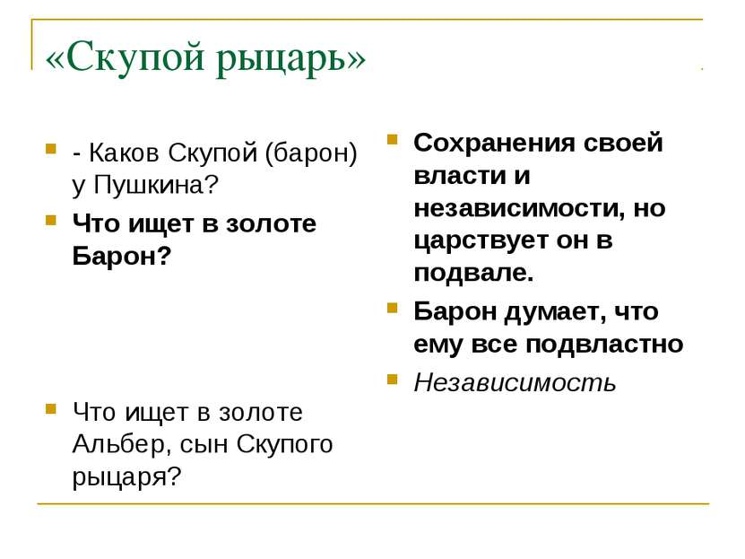 «Скупой рыцарь» - Каков Скупой (барон) у Пушкина? Что ищет в золоте Барон? Чт...