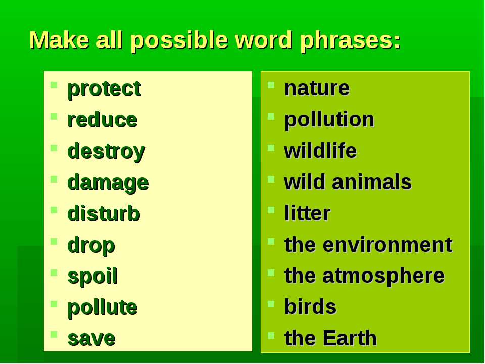 Make all possible word phrases: protect reduce destroy damage disturb drop sp...