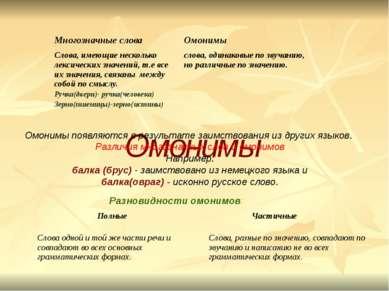 Омонимы Разновидности омонимов: Омонимы появляются в результате заимствования...